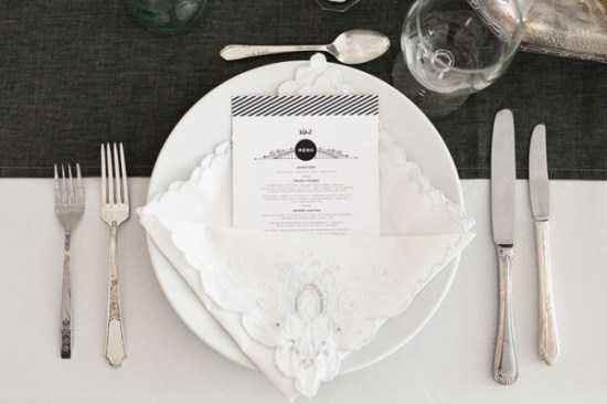 Striped Wedding Menu All Along Press Turner Creative Photography 550x366 Wedding Stationery Inspiration: Black + White Stripes