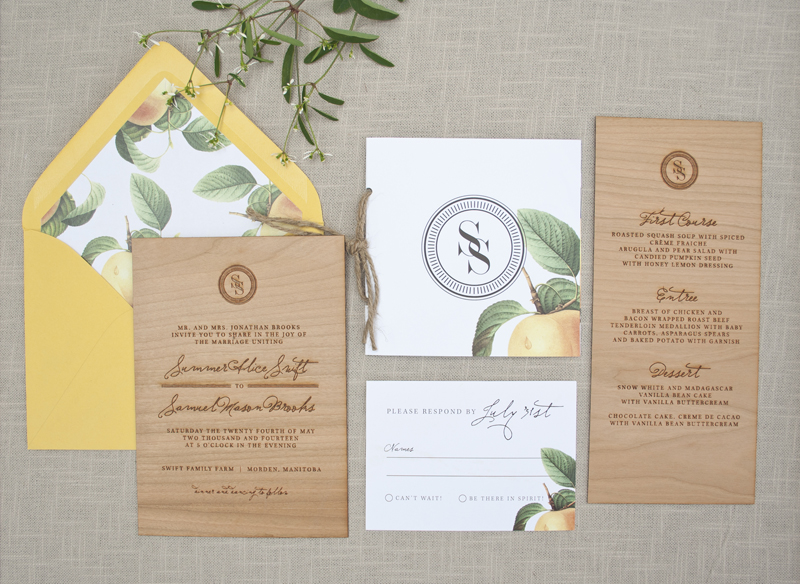 Elegant And Rustic Wood Engraved Wedding Invitations