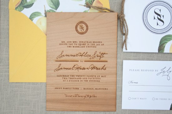 Wood Engraved Citrus Wedding Invitations Paper Airplanes2 550x365 Elegant and Rustic Wood Engraved Wedding Invitations