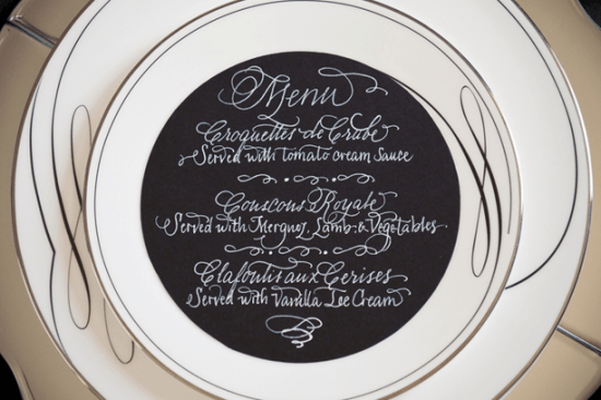 Black Calligraphed Wedding Menu Calligraphy Katrina and Maison du Papier 550x366 Wedding Stationery Inspiration: White on Black