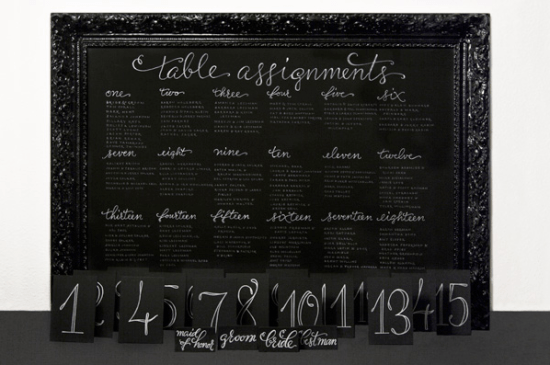 Black Calligraphed Wedding Seating Chart Plurabelle 550x365 Wedding Stationery Inspiration: White on Black