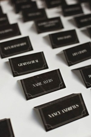 Black Wedding Escort Cards Andrio Abero Studio on Fire Jenny Jimenez 300x450 Wedding Stationery Inspiration: White on Black