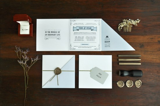 Blue Gray 1920s Letterpress Wedding Invitations Tere Hinojosa Creative 550x365 Tere + Césars 1920s Inspired Letterpress Wedding Invitations