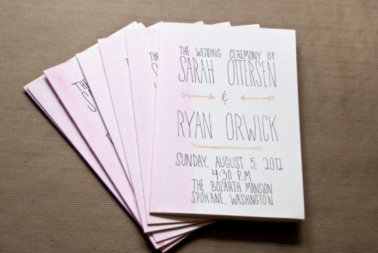 Hand Lettered Watercolor Edgepainted Wedding Programs Love Citron4 550x368 Sarah + Ryans Bright Hand Lettered Wedding Invitations
