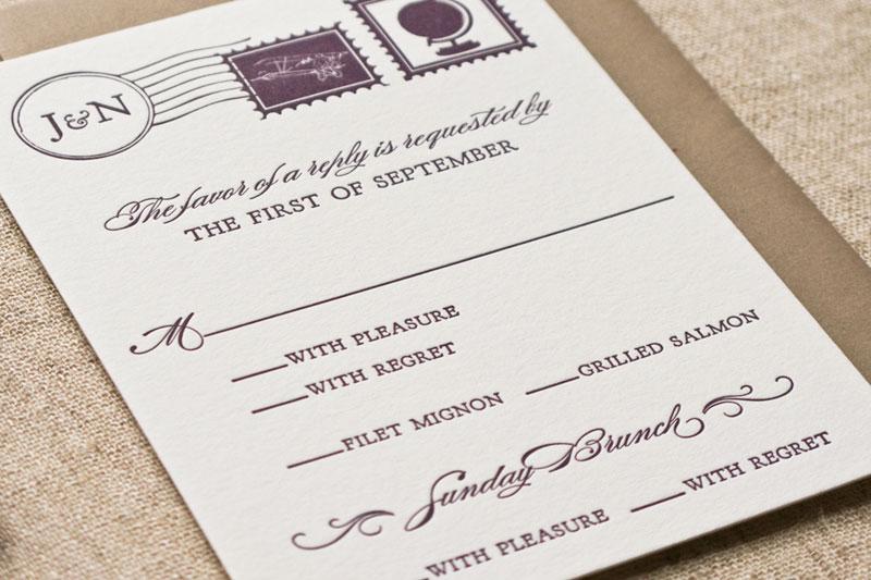Jessica Nick39s Letterpress Map Wedding Invitations