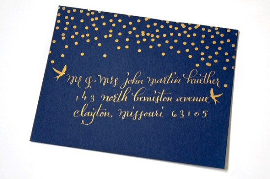 Navy Gold Foil Calligraphy Wedding Invitations Plurabelle Calligraphy Kate Allen3 550x366 Navy + Gold Foil Calligraphy Wedding Invitations
