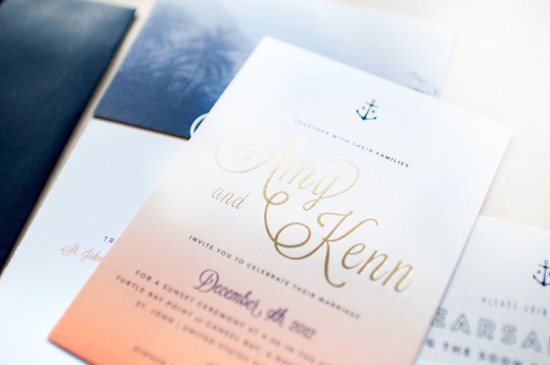 Ombre Gold Foil Nautical Wedding Invitations Carina Skrobecki Design5 550x365 Amy + Kenns Ombre and Gold Foil Nautical Wedding Invitations