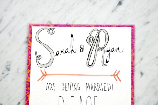 Pink Orange Watercolor Wedding Invitations Love Citron3 550x365 Sarah + Ryans Bright Hand Lettered Wedding Invitations