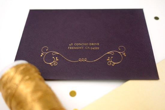 Purple Gold Foil Indian Wedding Invitations Rashi Birla6 550x367 Anjali + Suchits Elegant Gold Foil Hindu Wedding Invitations