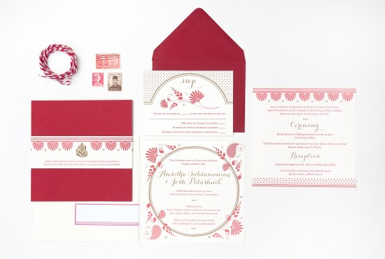 Red Gold Letterpress Wedding Invitations Rashi Birla 550x371 Amritha + Joshs Red and Gold Letterpress Wedding Invitations