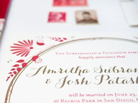 Red Gold Letterpress Wedding Invitations Rashi Birla4 550x409 Amritha + Joshs Red and Gold Letterpress Wedding Invitations