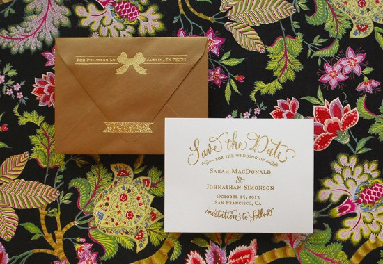 gold final 550x380 DIY Tutorial: Gold Embossed Save the Dates