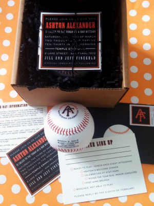 Bar Mitzvah Invitations SF Giants PS Paper 300x401 Baseball Inspired Bar Mitzvah Invitations