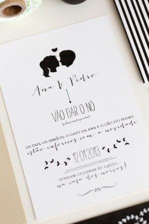 Black and White Silhouette Wedding Invitations Brancoprata2 300x450 Ana + Pedros Modern Organic Wedding Invitations