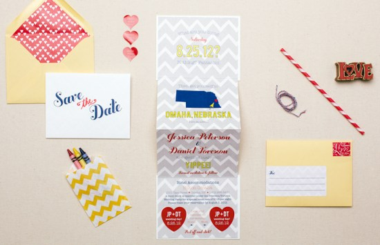 Modern Chevron Save the Date Inclosed Studio 550x355 Jessica + Dans Modern Chevron Stripe Save the Dates