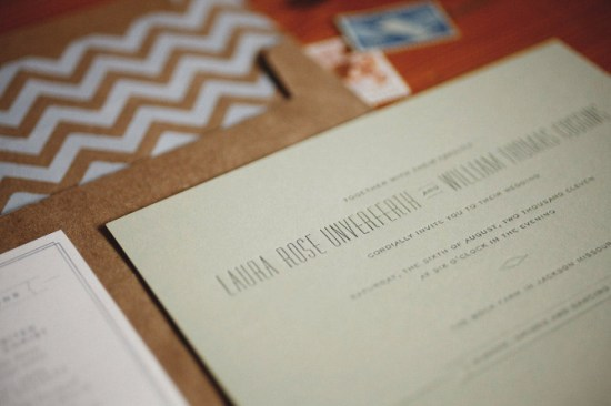 Modern Kraft Paper Chevron Wedding Invitations2 550x366 Laura + Thomass Modern Kraft and Chevron Stripe Wedding Invitations