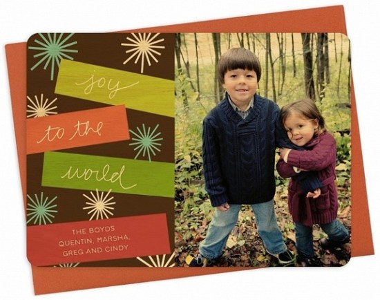 Night Owl Paper Goods Wood Banner Holiday Card2 550x434 Seasonal Stationery: Holiday Photo Cards