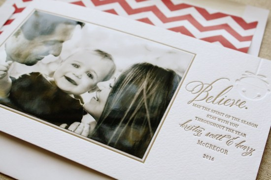 Page Stationery Letterpress Holiday Photo Card 550x366 Seasonal Stationery: Holiday Photo Cards