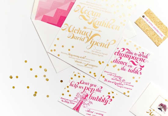 Pink Gold Foil Confetti Wedding Invitations Coral Pheasant 550x381 Megan + Mikes Whimsical Pink and Gold Confetti Wedding Invitations
