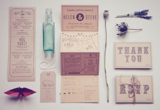 Recycled Country Wedding Invitations Bridges and Eggs 550x379 Helen + Steves Country Inspired Kraft Paper Wedding Invitations