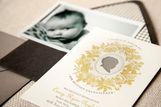 Silhouette Letterpress Baby Announcements Kristen Ekeland 550x366 Caseys Silhouette Letterpress Baby Announcements