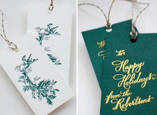 holly tag 2 copy 550x402 DIY Tutorial: Festive Wrapping with Holiday Gift Tags