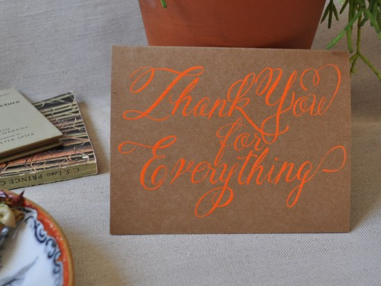 thankyou neon 550x412 Stationery A – Z: Thank You Cards