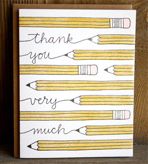 thankyou pencil Stationery A – Z: Thank You Cards