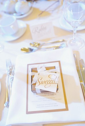 Gold Favor Tags The Social Page Sarah Vaughan Photography 300x451 Wedding Stationery Inspiration: Silver + Gold