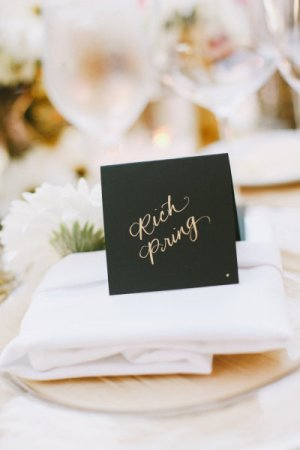Gold Foil Place Cards Copper Willow Paper Studio Christine Farah Photography 300x450 Wedding Stationery Inspiration: Silver + Gold