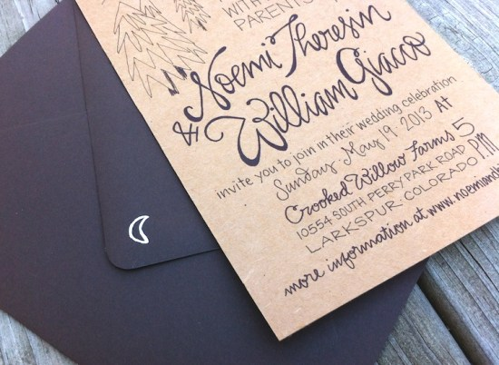 Hand Lettered Kraft Paper Wedding Invitations Grey Snail Press5 550x402 Noemi + BJs Hand Lettered Kraft Paper Wedding Invitations