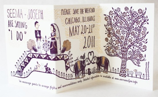 LOUIE Winner Invitation Suite Mr Boddington Studio41 550x339 Seema + Josephs Whimsical Illustrated Wedding Invitations