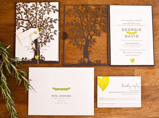 Laser Cut Tree Wedding Invitations 550x409 Best of 2012: Nature Inspired Laser Cut Wedding Invitations