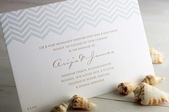 Modern Chevron Stripe Letterpress Wedding Invitation Meticulous Ink4 550x364 James + Arijas Modern Seaside Wedding Invitations