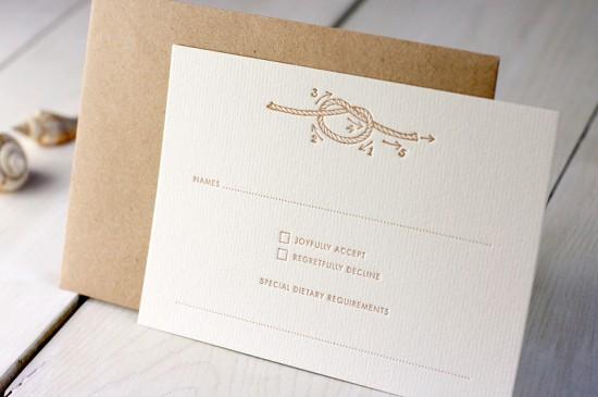 Modern Chevron Stripe Letterpress Wedding Invitation Meticulous Ink6 550x365 James + Arijas Modern Seaside Wedding Invitations