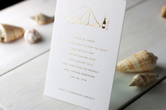 Modern Chevron Stripe Letterpress Wedding Invitation Meticulous Ink7 550x366 James + Arijas Modern Seaside Wedding Invitations