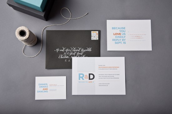 Modern Personal Same Sex Wedding Invitations SugarB Studio 550x366 Ralph + Drews Because We Love You Modern Wedding Invitations