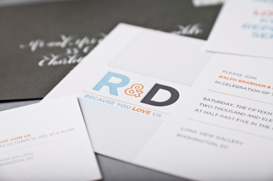 Modern Personal Same Sex Wedding Invitations SugarB Studio2 550x366 Ralph + Drews Because We Love You Modern Wedding Invitations