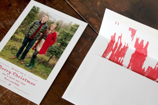 Red Ikat Letterpress Custom Holiday Photo Card La Happy2 550x366 Chris + Sallys Ikat Letterpress Holiday Cards
