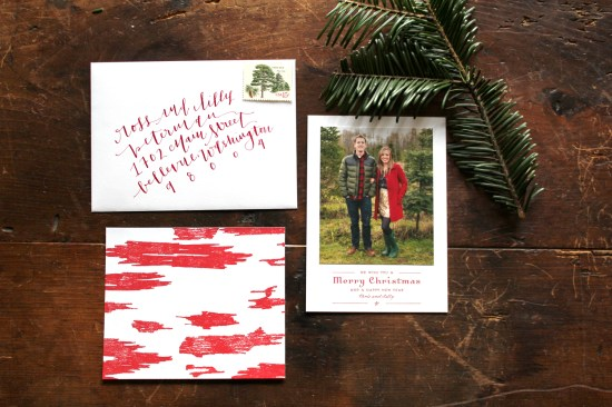 Red Ikat Letterpress Custom Holiday Photo Card La Happy4 550x366 Chris + Sallys Ikat Letterpress Holiday Cards