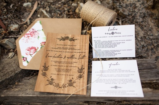 Rustic Letterpress Wood Wedding Invitations Birds of a Feather 550x366 Dana + Matts Rustic Floral Wood Veneer Wedding Invitaions