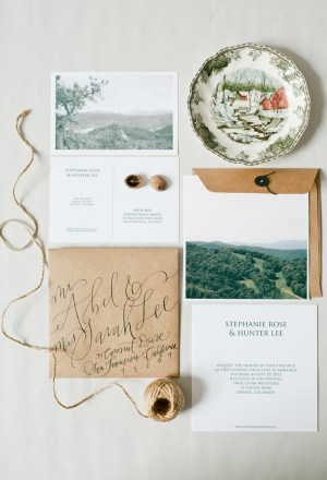 Travel Inspired Calligraphed Wedding Invitations Hazel Wonderland 300x440 Calligraphy Wedding Invitation Collection from Hazel Wonderland