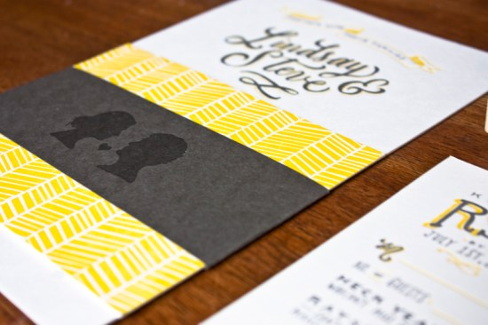 Yellow Gray Hand Lettered Wedding Invitations Molly Jacques7 550x366 Best of 2012: Lindsays Hand Lettered Wedding Invitations