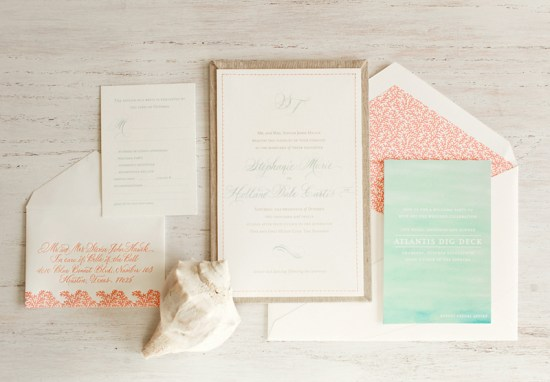 Bahamas Wedding Invitation Atheneum Creative3 550x382 Stephanie + Treys Coral and Aqua Destination Wedding Invitations