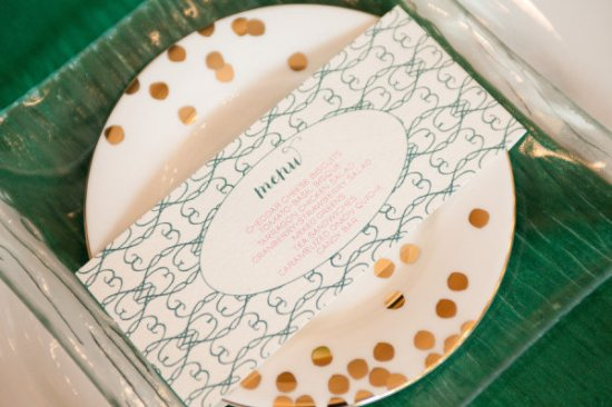 Emerald Green Wedding Menu Courtney Callahan Paper Dennis Lee Photography 550x366 Wedding Stationery Inspiration: Emerald
