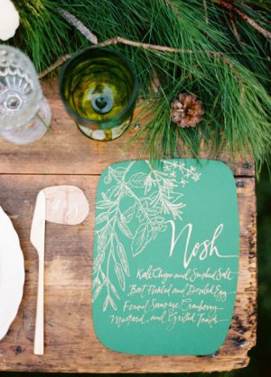 Emerald Wedding Menu Julie Song Ink Ryan Ray Photography 300x416 Wedding Stationery Inspiration: Emerald