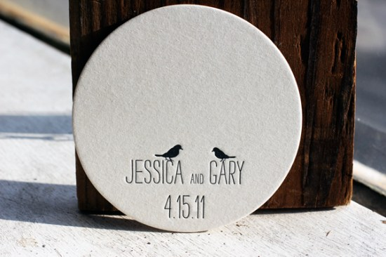 Letterpress Bird Coasters Bella Figura 550x366 Wedding Stationery Inspiration: Animal Motifs