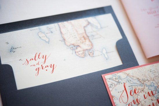 Map Travel Inspired Wedding Invitations Gus and Ruby Letterpress9 550x365 Sally + Grays Maine Map Destination Wedding Invitations