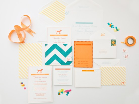 Orange Teal Chevron Stripe Fabric Pocket Wedding Invitation 550x412 Janine + Craigs Chevron Stripe Fabric Pocket Wedding Invitations