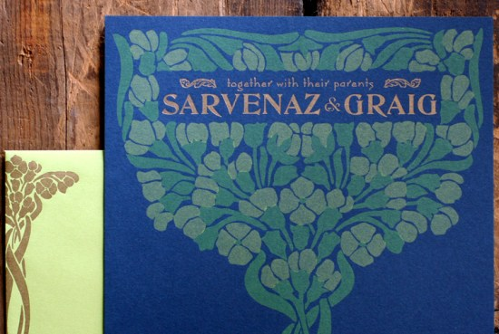Art Nouveau Letterpress Wedding Invitations Starshaped2 550x369 Sarvenaz + Graigs Art Nouveau Wedding Invitations